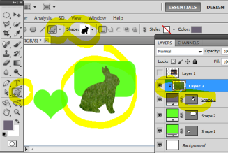 The grass layer has been turned into a clipping mask with the shape of the rabbit below.