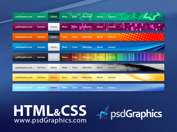Various Designs for a Horizontal Navigation Bar from PSD Graphics