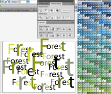 Outlined text changed in size and colours dropped into the individual letters with Eyedropper tool using LMB + Alt