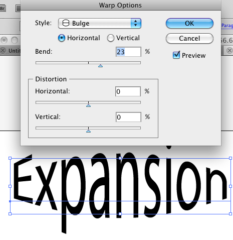Using Effect>Warp>Bulge on the word Expansion