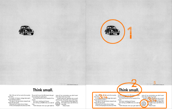 Example for Visual Hierarchy - based 'Think small' Advertisement for VW Beetle by Helmut Krone, 1960