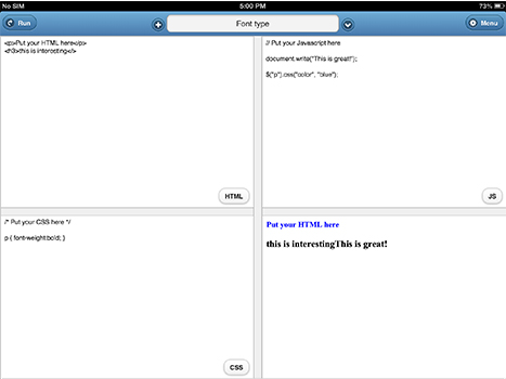 Screenshot of Offline Coder App for I-Pad and I-Phone.