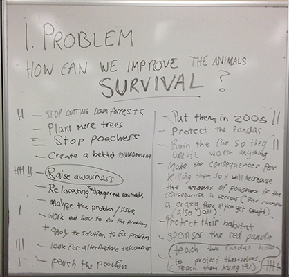 Screenshots of the Brainstorms in Class