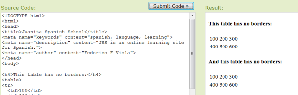 Screenshot W3School - inclass example