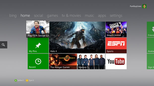 Xbox 360 GUI - Courtesy of www.engadget.com