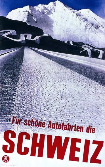 'For Great Road Trips: Switzerland' Poster by Herbert Matter in (Swiss) International Style - Source: http://swisstype.wordpress.com/work/