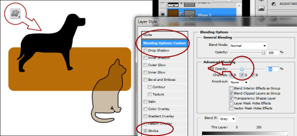 Next click on the words Blending Options: Custom and reduce the Fill Opacity to 0%