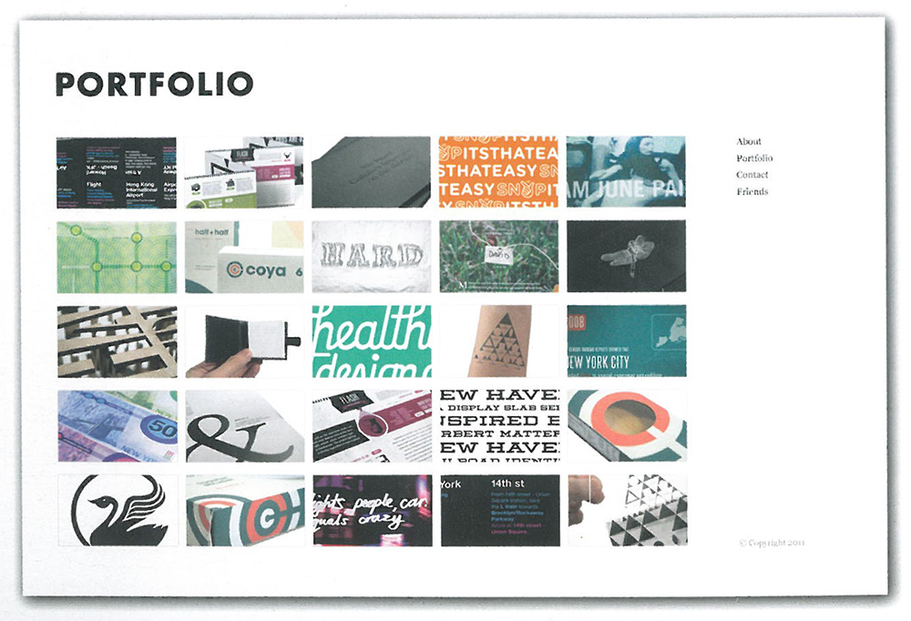 clean and beautiful layout for a portfolio by graphic designer derek