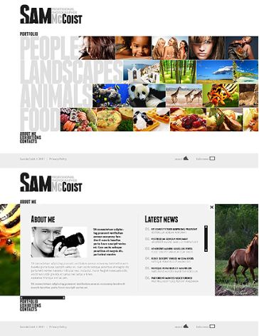 Sam McCoist Website - Photography. Not exactly my cup of tea, actually coffee, but I like the daring aspect of using large fonts for the menu.
