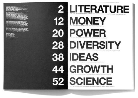 Text-based Table of Content - Very Graphic and Black and White- found at: Smashing Magazine (click image for inspiring article on table of content design)