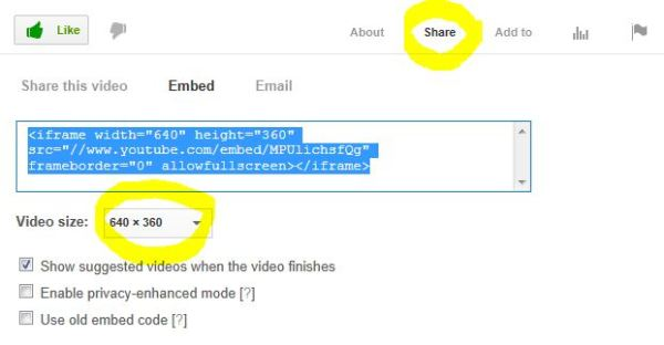 YouTube provides the code that allows you to embed the file. The video viewing size can be changed on YouTube.