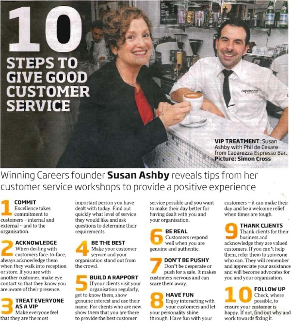 Customer service standards that work - source: WinningCareers.com.au