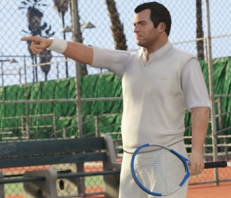 GTA 5 image of Michael pointing