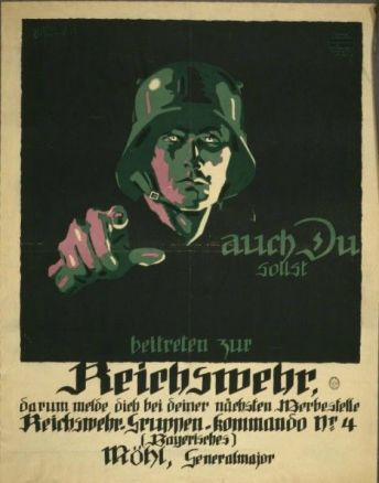 The concept was used on the German side as well with this 'Auch du sollst beitreten zur Reichswehr' [You too should join the German Army], design by Julius Engelhard, Image: courtesy of mental_floss