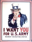 Uncle Sam Wants You, WWI Propaganda Poster for US Army recruits, Design by James Montgomery Flagg, 1916, image found at: Live Auctioneers