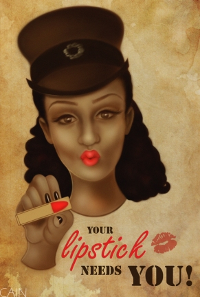 Your Lipstick Needs You, an entertaining take by Digital Media Artist Samantha Cain. Courtesy of: Samantha Cain, http://www.behance.net/samanthacain