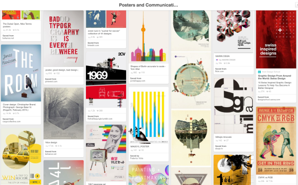 Screenshot of Pinterest site showing a Pinterest board of poster designs